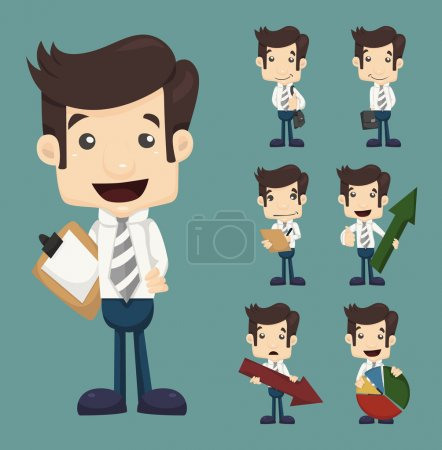Set of businessman characters poses with charts