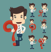 Set of businessman characters poses with question marks  eps10 vector format