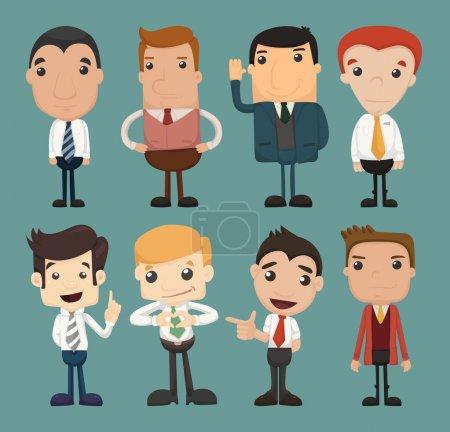 Illustration pour Ensemble de personnages d'homme d'affaires pose, employé de bureau, format vectoriel eps10 - image libre de droit