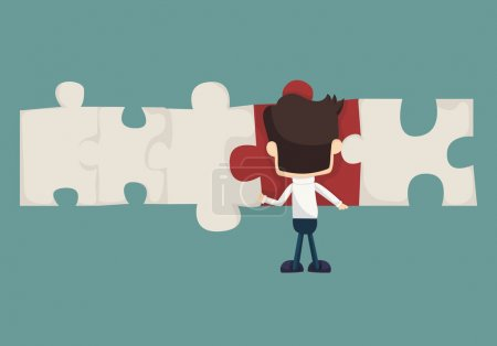 Illustration for Set of businessman holding up jigsaw puzzle pieces as a solution to a problem , eps10 vector format - Royalty Free Image