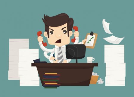 Illustration for Businessman work hard and busy , eps10 vector format - Royalty Free Image