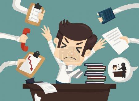 Illustration pour Homme d'affaires travailler dur et occupé, eps10 format vectoriel - image libre de droit