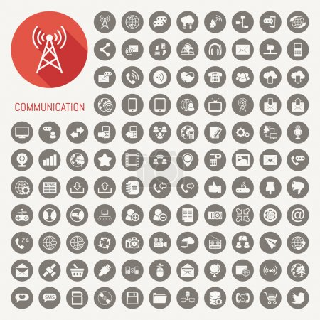 Illustration for Communication icons with white background - Royalty Free Image