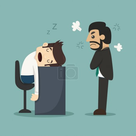 Illustration for Businessman sleeping at his office desk , eps10 vector format - Royalty Free Image