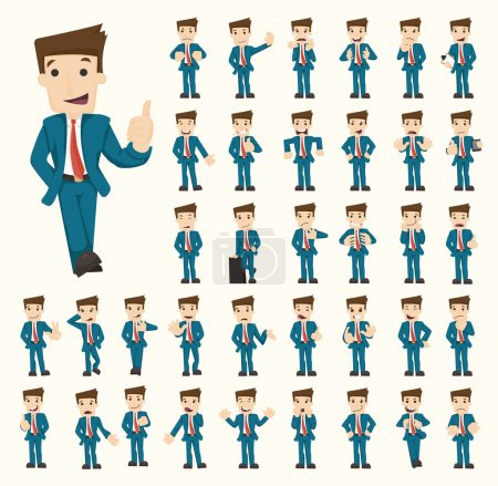 Illustration for Set of businessman characters poses , eps10 vector format - Royalty Free Image