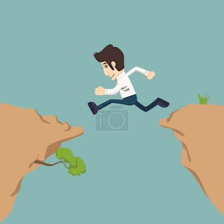 Illustration for Businessman jumping over gap  , eps10 vector format - Royalty Free Image