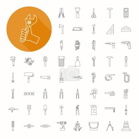 Illustration pour Outils à main icônes, conception d'icônes minces, format vectoriel eps10 - image libre de droit