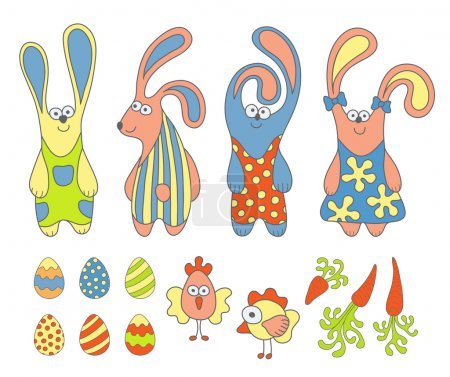 Cute cartoon rabbits and design Easter elements set