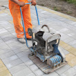 Worker finishing concrete brick pavement with vibr...