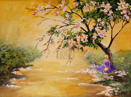 Photo pour Une peinture acrylique originale d'une belle méridionale assise sous un grand arbre en fleurs . - image libre de droit