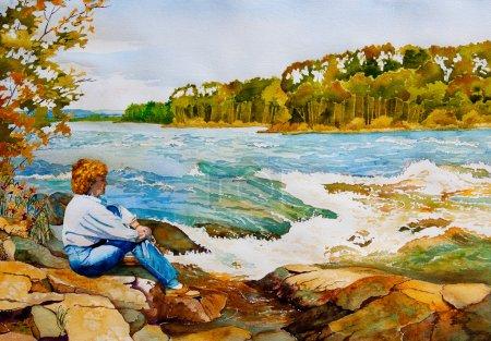 Photo pour Aquarelle originale représentant une femme d'âge moyen assise sur les rochers près d'Otter Rapids près du lac La Ronge, Saskatchewan, Canada, à l'automne . - image libre de droit