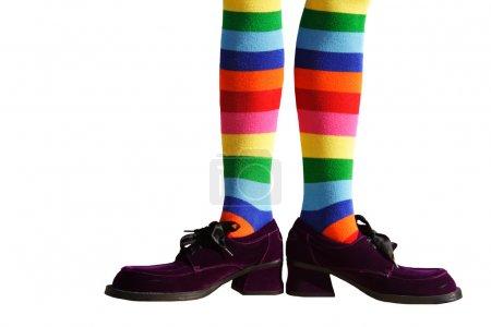 Photo pour Pieds de clown farfelus avec des chaussettes à rayures folles et des chaussures en daim violet surdimensionnées ! Isolé . - image libre de droit