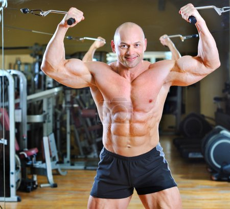 Photo for Bodybuilder posing at gym - strong man torso - Royalty Free Image