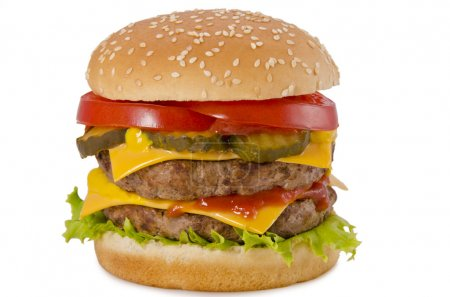 Photo for Tasty and appetizing hamburger on a white background - Royalty Free Image