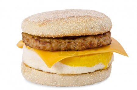 Photo for Sausage Egg and Cheese Breakfast Sandwich Isolated on White background - Royalty Free Image