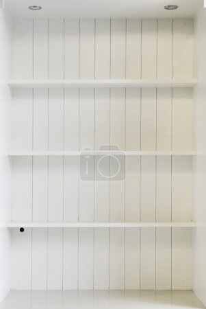 Photo for Empty white wooden shelf - Royalty Free Image