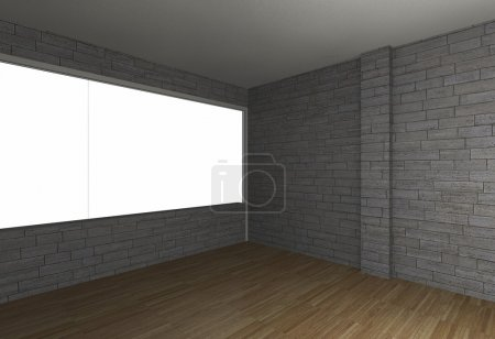 Room with brick wall and wood floor