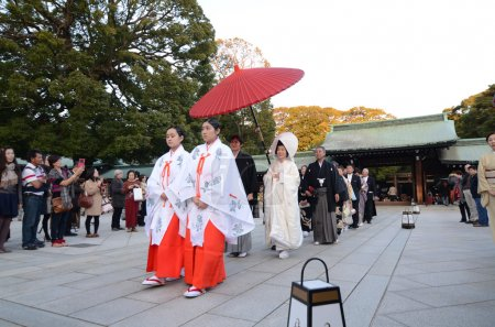 TOKYO,JAPAN-NOV 23 :A Japanese wedding ceremony at Meiji Jingu Shrine