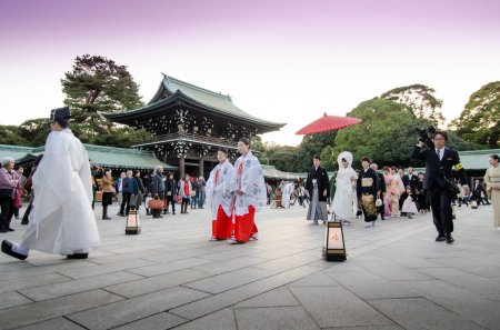 TOKYO,JAPAN-NOVEMBER 20 : A Japanese wedding ceremony at Meiji J