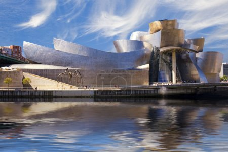 Guggenheim Bilbao museum reflection on the Nervion...