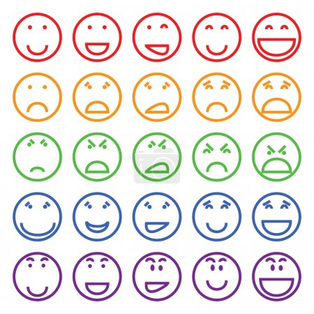 Illustration for Multicolored vector set of differernt smiles - Royalty Free Image