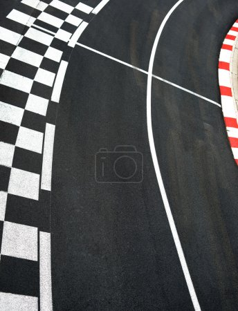 Photo for Car race asphalt and curb on Monaco Montecarlo Grand Prix street circuit - Royalty Free Image