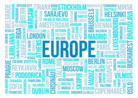 Europe, capitals of countries and other cities words cloud background