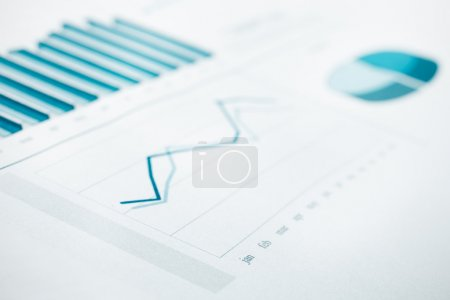 Business data report and chart print. Selective Focus. Blue toned