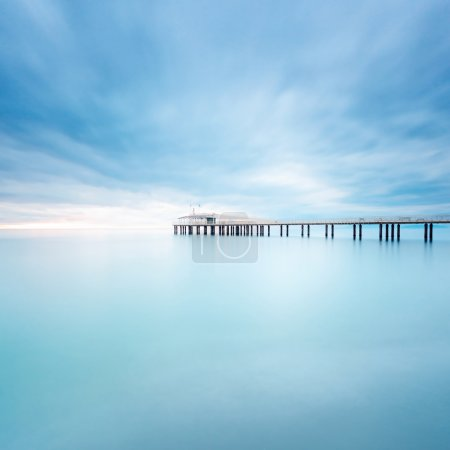 Photo for Modern steel pier in a cold atmosphere Long exposure photography in Lido Camaiore, Versilia, Tuscany, Italy, Europe - Royalty Free Image