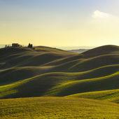 Toskánsko, slunce venkovské krajiny. Rolling hills, farma krajina, stromy