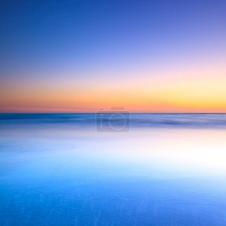 Photo for White beach, blue ocean and clear sky. Twilight sunset on background - Royalty Free Image