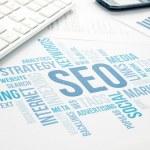 Seo business, search engine optimazion, concept cloud chart. Blue Toned