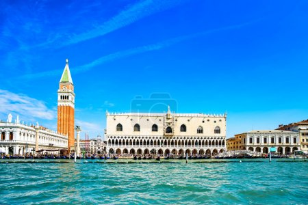 Venice landmark, view from sea of Piazza San Marco...