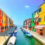 Venice landmark, Burano island canal, colorful hou...