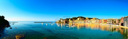 Sestri Levante, silence bay sea and beach panorama. Liguria