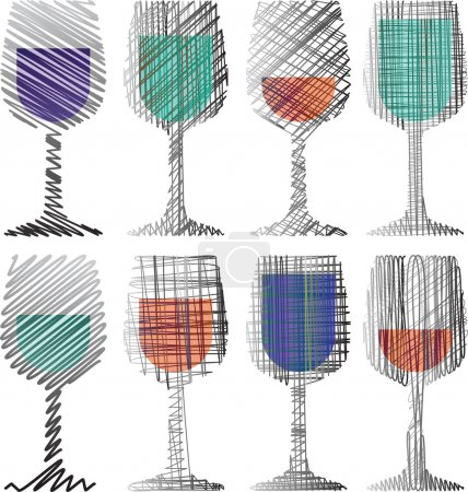 Illustration pour Illustration de verres à vin - image libre de droit
