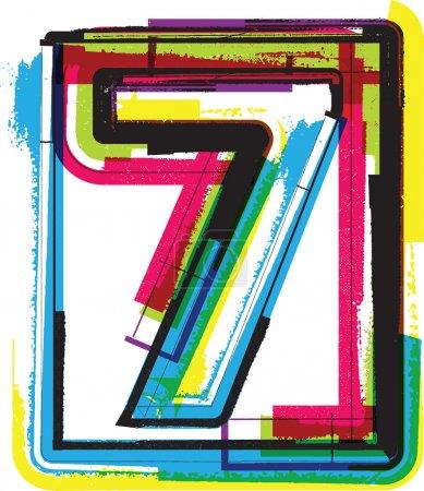 Illustration pour Police Grunge colorée NUMÉRO 7 - image libre de droit