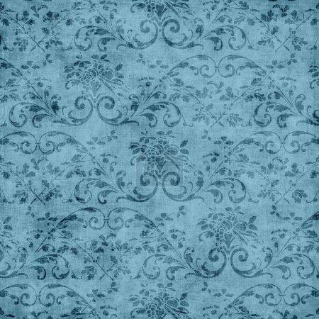 Photo pour Porté motif tapisserie florale bleue - image libre de droit