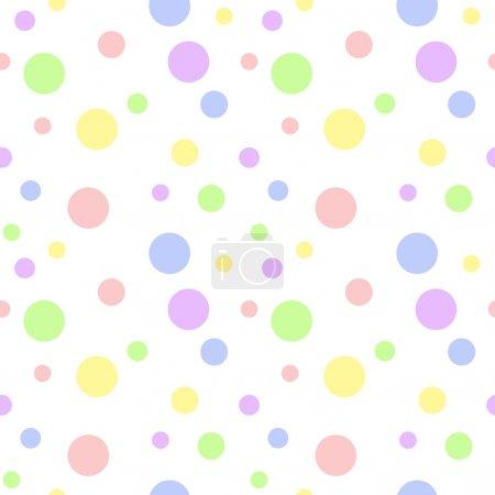 Foto de Patrón sin costuras de lunares de color pastel bebé suave en varios tamaños sobre fondo blanco - Imagen libre de derechos