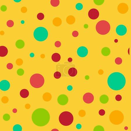 Foto de Patrones sin fisuras de lunares de color brillante en varios tamaños sobre fondo amarillo brillante - Imagen libre de derechos