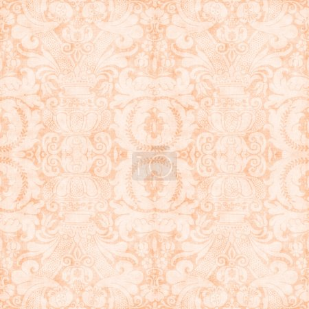 Photo for Worn light peach tapestry pattern - Royalty Free Image