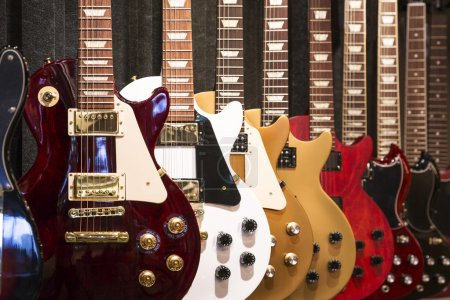 Photo for A row of electric Guitar on display - Royalty Free Image
