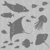 Stripy seamless pattern with fish silhouettes