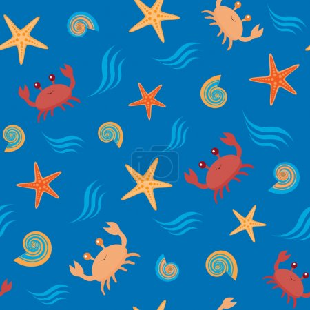 Seamless pattern with crabs and shells