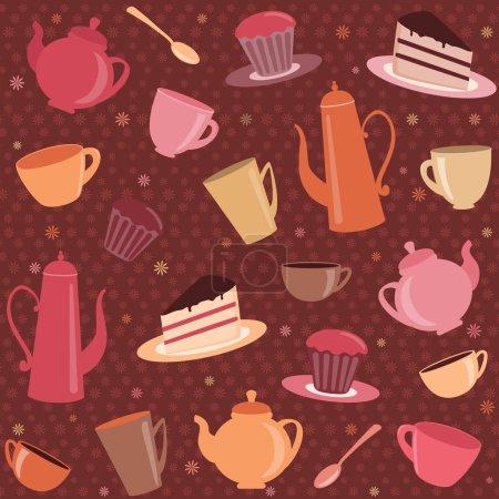 Patrón sin costuras con artículos de té y café