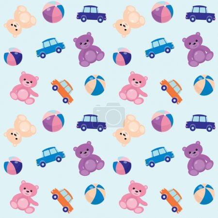 Illustration for Seamless pattern with toy cars, bears and balls - Royalty Free Image