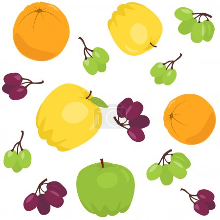 Seamless pattern with apples and grapes