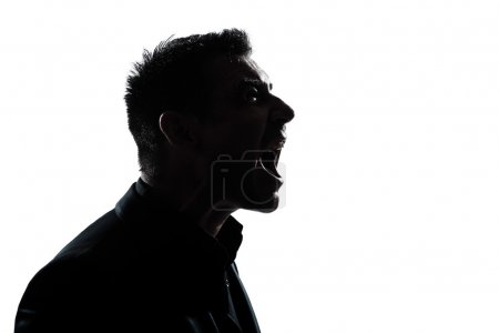 silhouette man portrait profile screaming angry