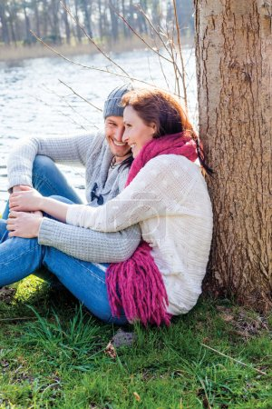 Photo for Relaxing love couple on valentine day - Royalty Free Image