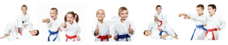 Photo for Children show techniques of karate a collage - Royalty Free Image